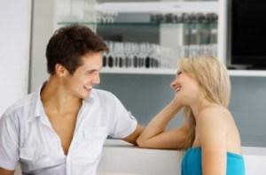 Happy couple enjoying a conversation