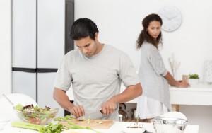 Fit man preparing food