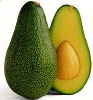 Two halves of an avocado