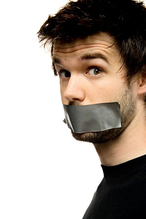 Man with duct tape over his mouth