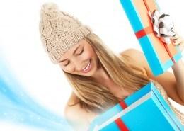 Girl opening gift