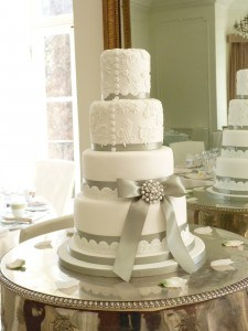Very white and tall wedding cake