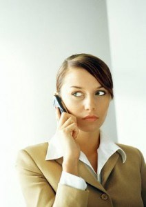 Unsure woman receiving a phone call