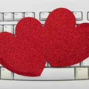 Computer keyboard keys with blank hearts with copy space, Online Dating