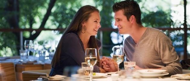Couple on romantic dinner date