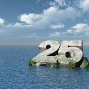 the number twenty five at the ocean - 3d illustration