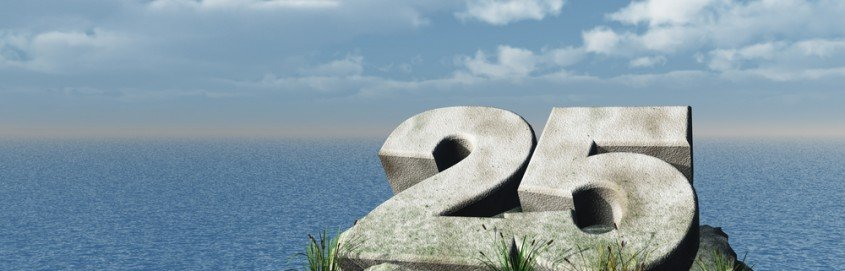 the number twenty five at the ocean - 3d illustration