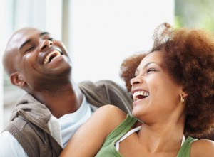 black couple laughing