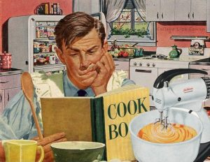 cartoon of a man reading a cook book