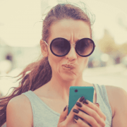 confused woman texting
