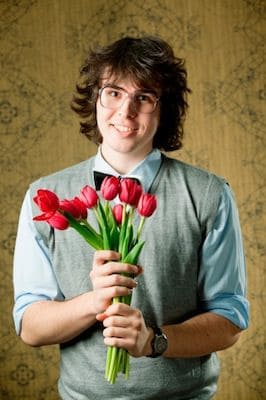 pathetic guy with flowers
